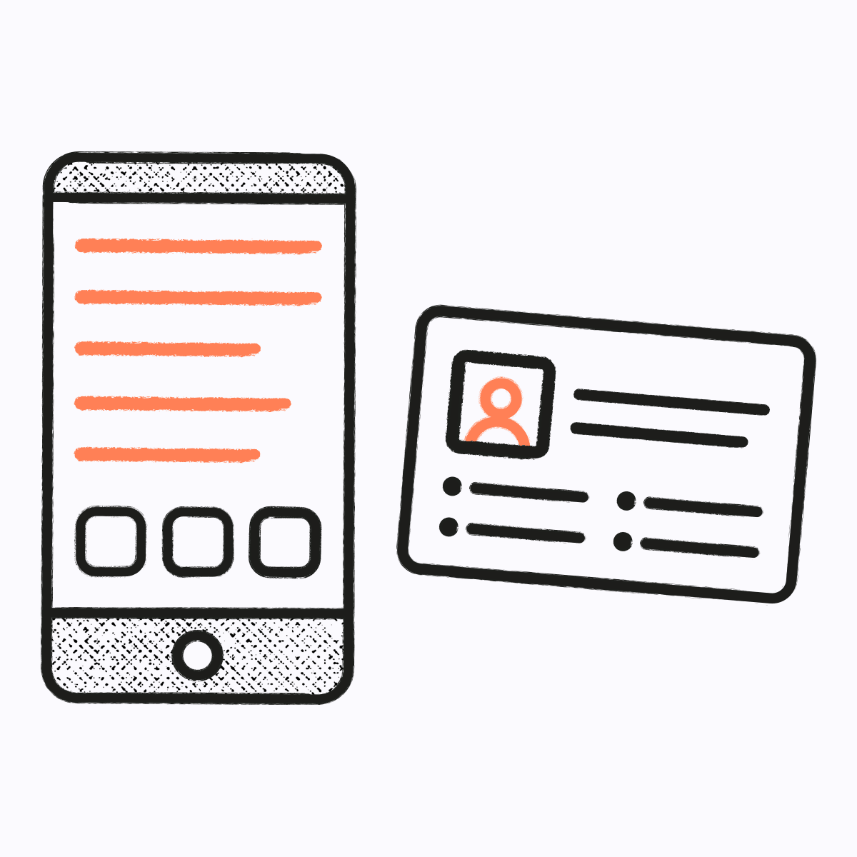 Illustration of mobile phone and identity card